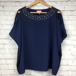 Lilly Pulitzer cold shoulder embellished blouse M